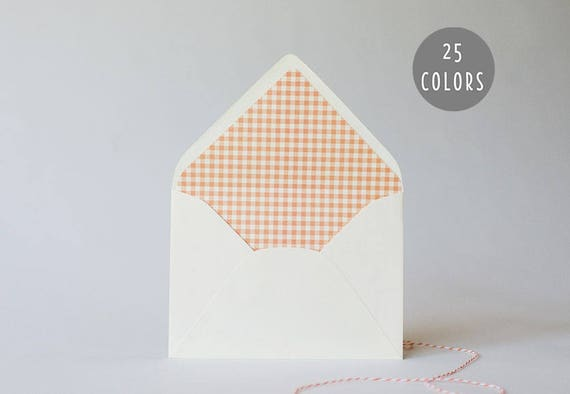 gingham lined envelopes (25 color options) - sets of 10 // envelope liners lined envelopes modern wedding shower party invitation invite