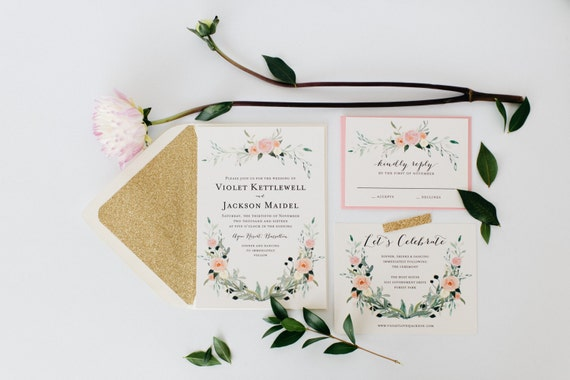 watercolor floral wedding invitation sample  //  printed invite / gold / blush / romantic / calligraphy / glitter / custom / invite