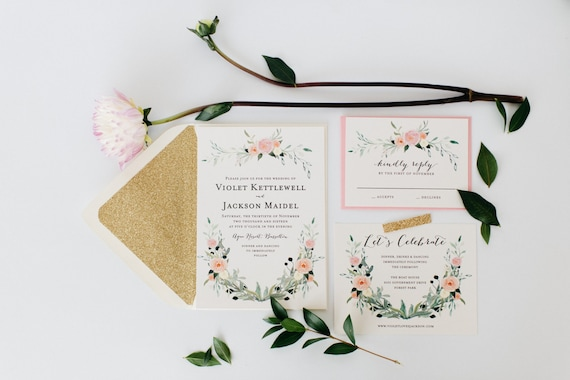 violet wedding invitation sample  //  printed invite / watercolor floral / gold / blush / romantic / calligraphy / glitter / custom / invite