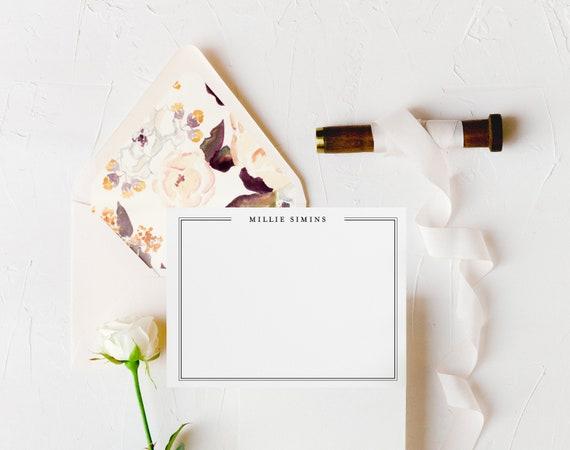 personalized notecards / stationery / monogram / card set / flat personalized wedding thank you cards / stationary / calligraphy (set of 10)