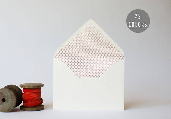 mini polka dot / pindot lined envelopes (25 color options)  // envelope liners lined envelopes modern wedding shower party invitation invite