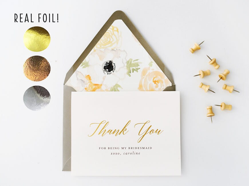New Personalized Foil Pressed Thank You For Being My Bridesmaid