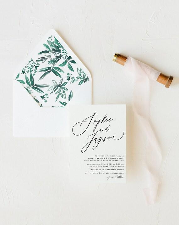wedding invitation sample / minimalist / black white / simple / modern / floral / monogram / custom / minimal / printed invitation /  invite