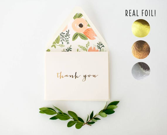 foil pressed thank you cards / wedding thank you cards / gold foil rose gold foil silver foil / letterpress cards (sets of 10)
