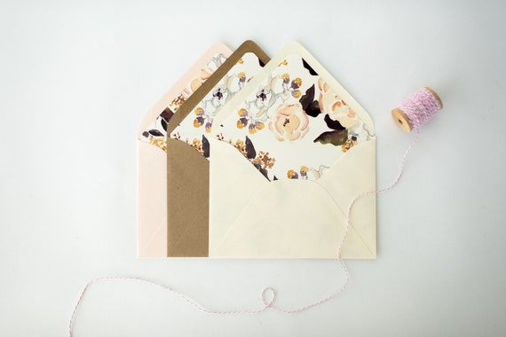 luxe lined envelopes / floral envelope liners (sets of 10) // wedding envelopes / envelope liner