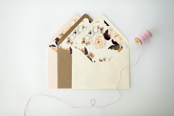 luxe lined envelopes / floral envelope liners (sets of 10) // wedding envelopes / envelope liner
