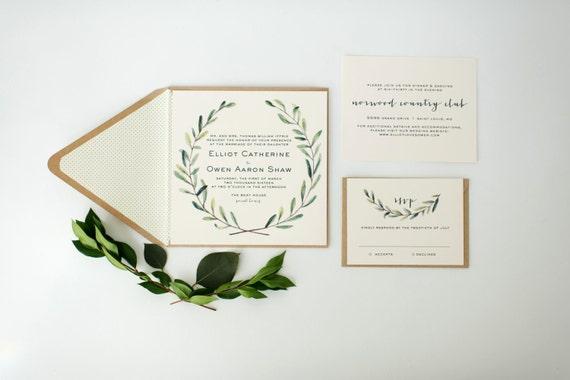 Elliot grün Hochzeit Einladung Probe / / grünen Blättern | Etsy