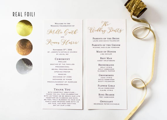 NEW!  millie gold foil wedding programs // gold foil / rose gold foil / silver foil / calligraphy romantic custom modern wedding programs