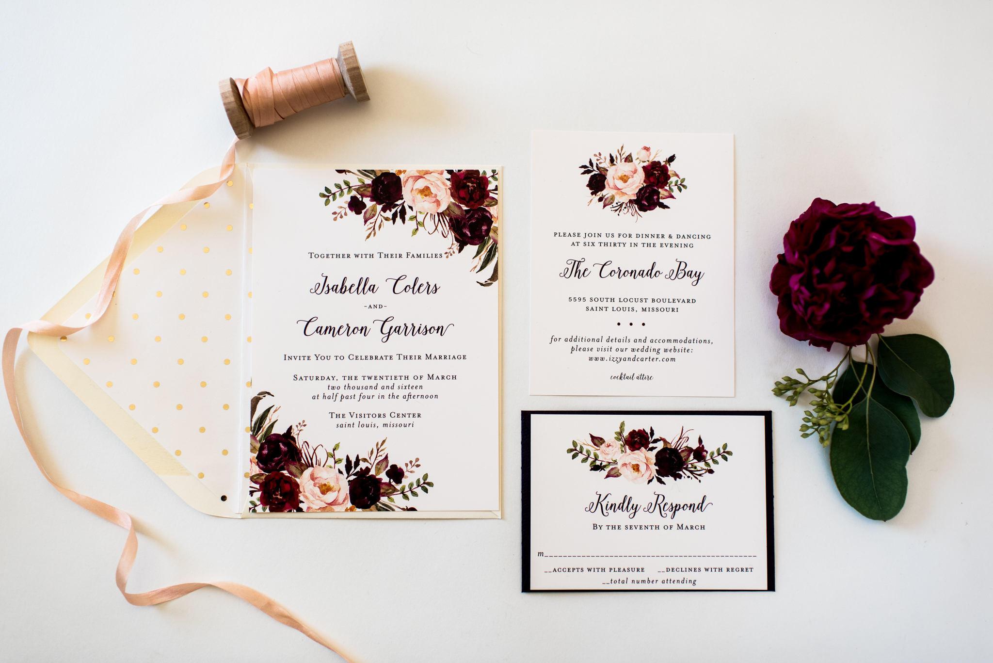 isabella burgundy floral wedding invitation sample //