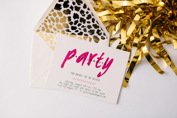 bachelorette party invitation  - customizable (sets of 10)  // gold foil hot pink leopard print bachelorette party weekend invite