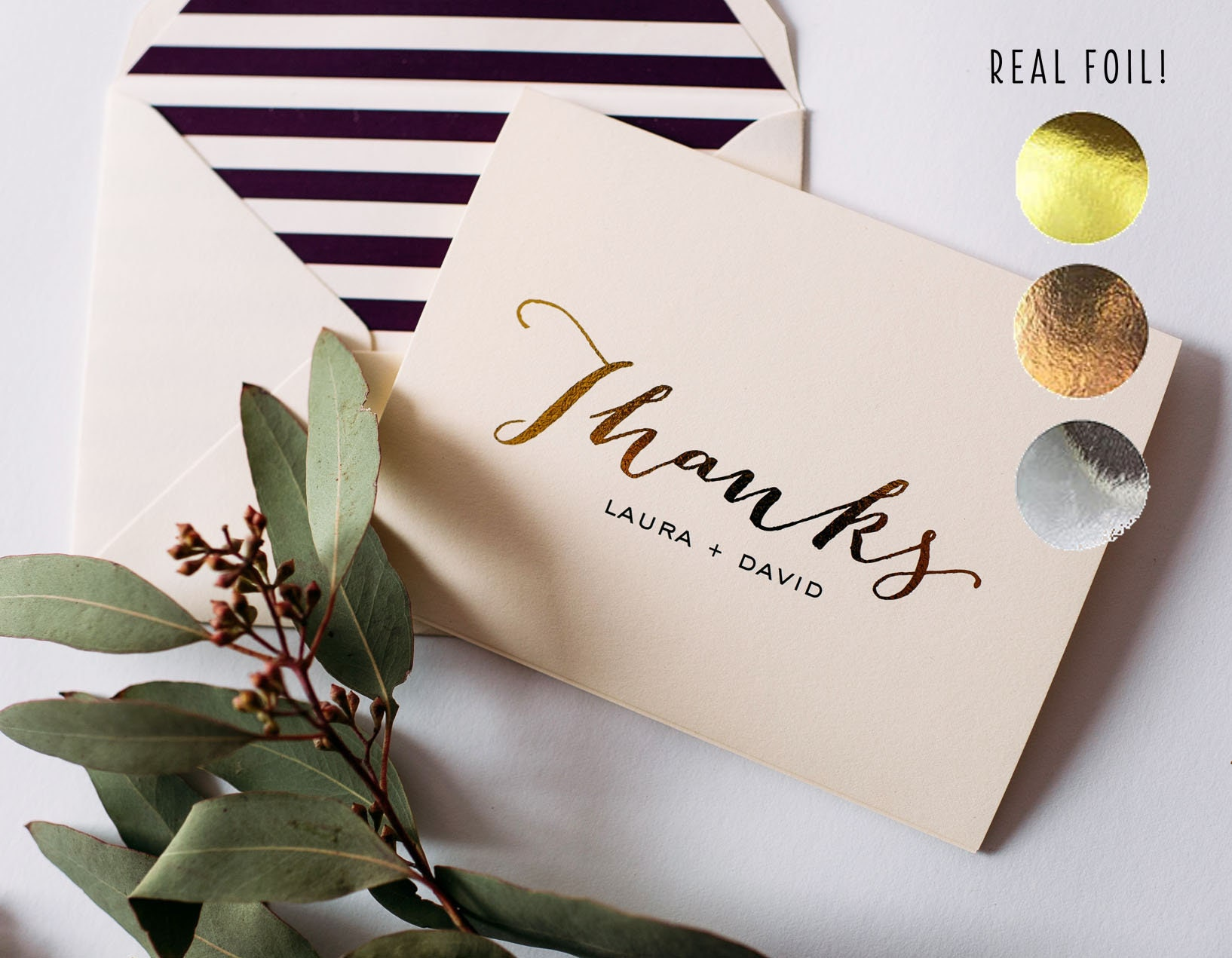 Personalized Foil Pressed Thank You Cards Wedding Thank You Cards