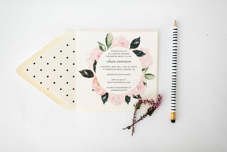 floral bridal shower baby shower invitation customizable sets of 10 watercolor floral polka dot blush bridal shower invite