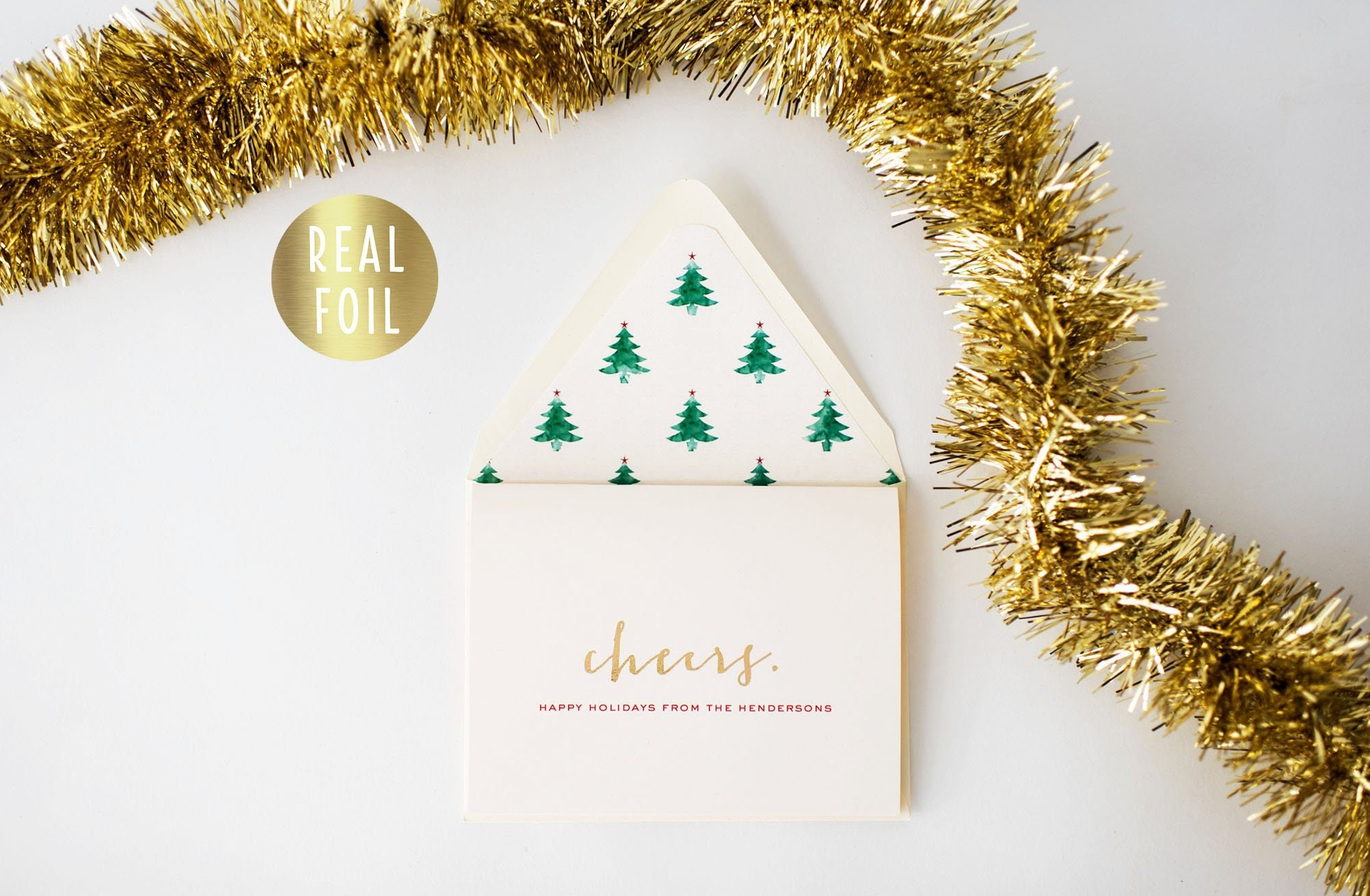 personalized gold foil christmas cards / holiday cards set / pack ...