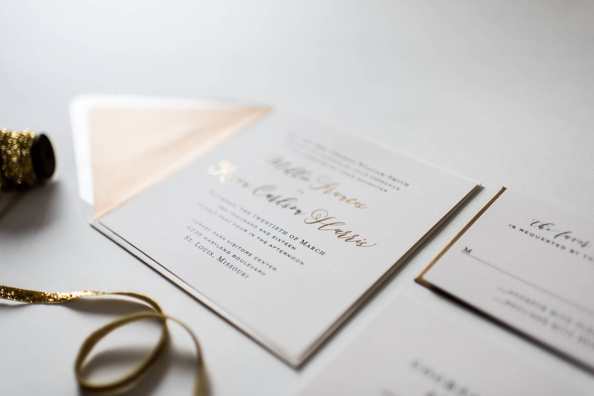 millie gold foil wedding invitation sample set // rose gold foil ...