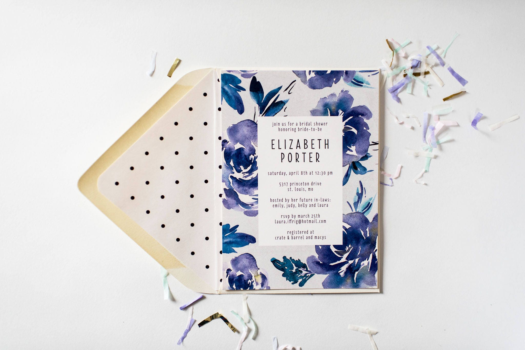 new blue floral bridal shower baby shower invitation customizable sets of 10 watercolor floral gold foil blue shower invite