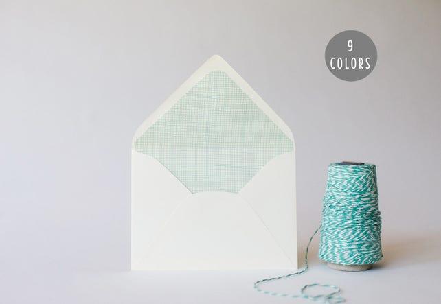 crosshatch lined envelopes (9 color options) - sets of 10 // envelope liners lined envelopes modern wedding shower party invitation invite