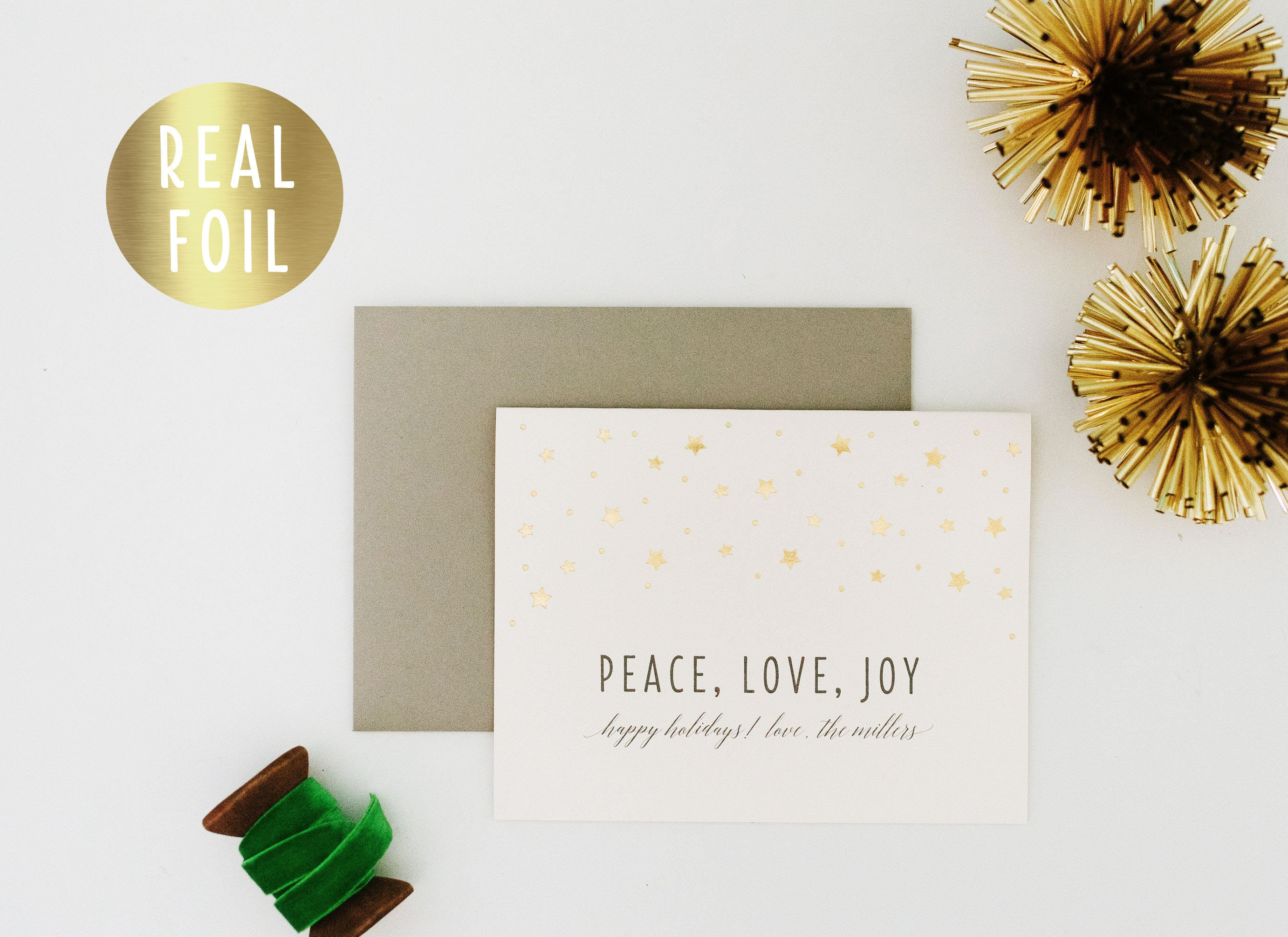 NEW! personalized gold foil christmas cards / holiday cards set ...