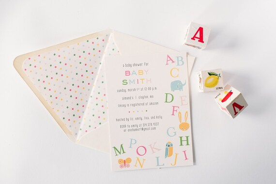 baby shower invitations (sets of 10)  //  alphabet ABC boy girl gender neutral animals farm zoo baby shower invite customizable