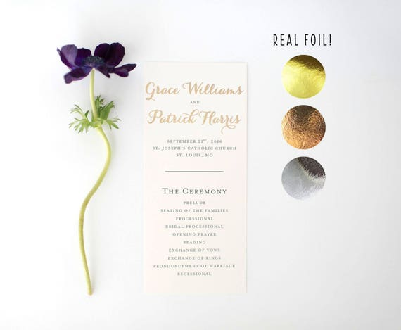 grace gold foil wedding programs // rose gold foil / silver foil / gold foil / calligraphy romantic custom modern wedding programs