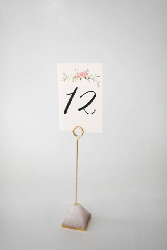 violet table numbers  //  watercolor floral romantic calligraphy wedding table numbers