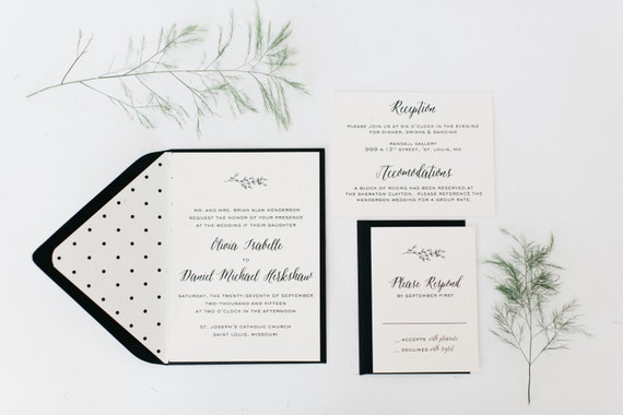 olive branch wedding invitation sample //  winery olive branch laurel black white neutral calligraphy romantic modern invite