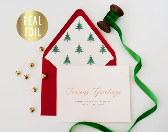 personalized gold foil christmas cards / holiday cards set / pack (set of 10) / non photo christmas holiday corporate card set letterpress