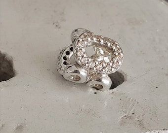 b0e2d0260 Authentic Pandora Circle of Friends Charm Brown/Champagne CZ Sterling  Hallmarked S925 ALE Item # 790445CZ Retired Pre-Loved/ BFF/ Sorority