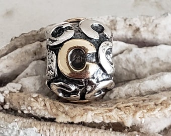 92108e0d3 Authentic Pandora Alpha Two Toned C Charm 14K Gold Sterling Hallmarked 925  ALE Item# 790798C RARE Pre-Loved RETIRED / Bff/ BDay / Initial C