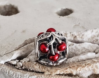 83ab9c371 Authentic Pandora Sweet Cherries Charm Sterling w/ Red Enamel Clear CZ  Hallmarked S925 ALE Item#791900EN73 Retired NWOT Picking Cherries
