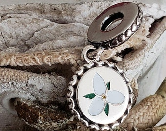 390ef744d Authentic Pandora Trillium Dangle Charm Sterling White Green Enamel  Hallmark S925 ALE Canadian Exclusive Ontario Item# ENG 792018 10 Retired
