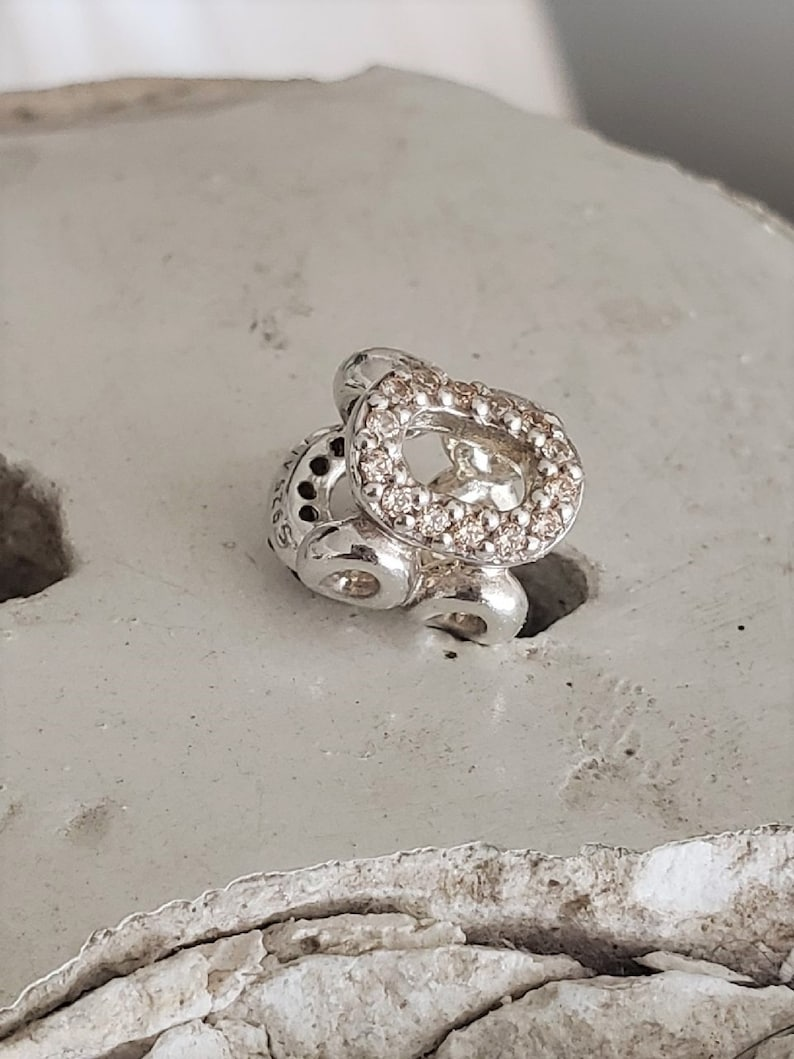 b57ad81df8cc4 Authentic Pandora Circle of Friends Charm Brown/Champagne CZ Sterling  Hallmarked S925 ALE Item # 790445CZ Retired Pre-Loved/ BFF/ Sorority