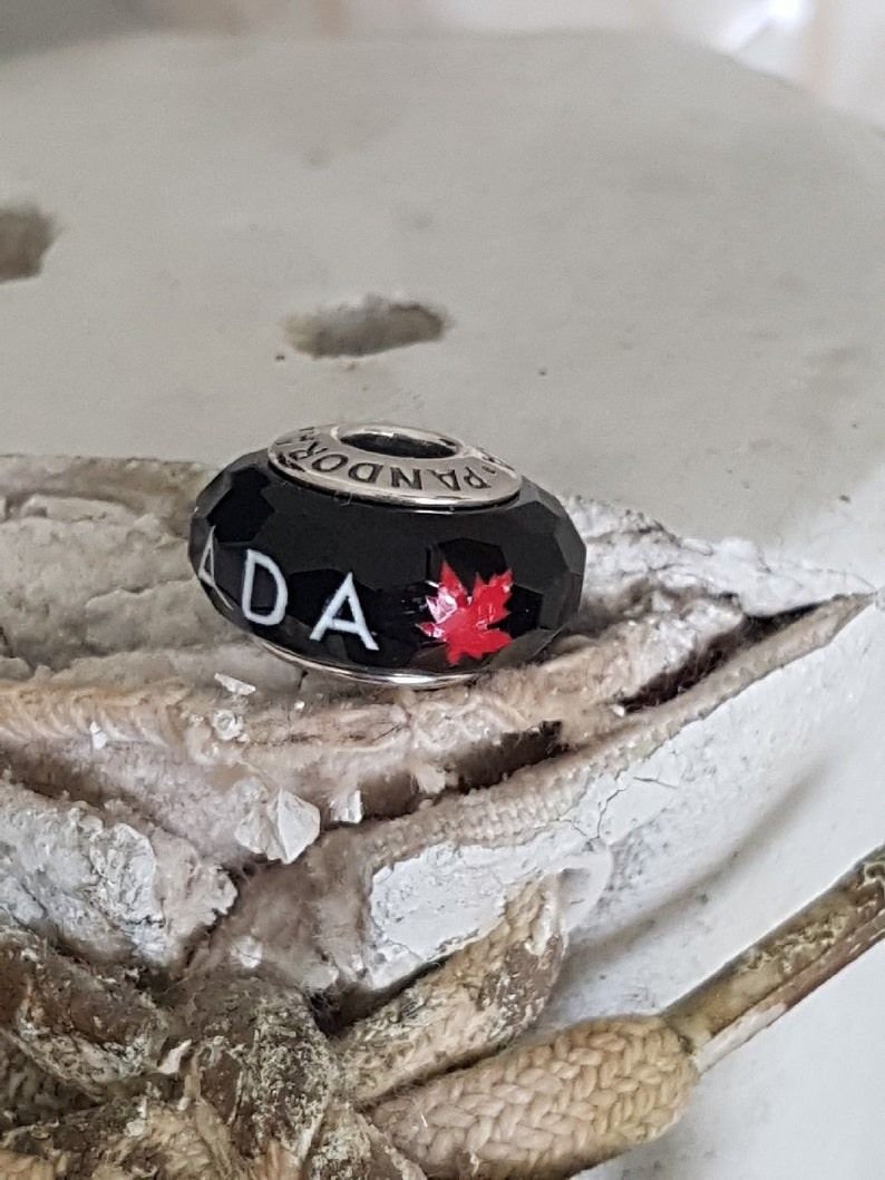 1d69bc955 Authentic Pandora Canada Faceted Black Murano Glass w/ Red | Etsy