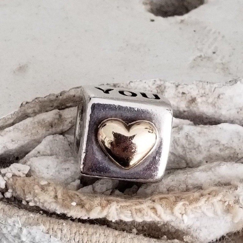 77ed7e9b2 Authentic Pandora I Love You Charm Sterling Silver with 14k | Etsy