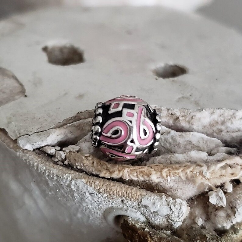 2c95f35b3 Authentic Pandora Pink Ribbon Charm Sterling Oxidized Pink | Etsy