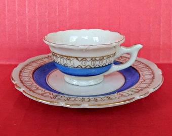 Vintage Handpainted Doll Tea Party Fine Porcelain Cup & Saucer Japan Demitasse