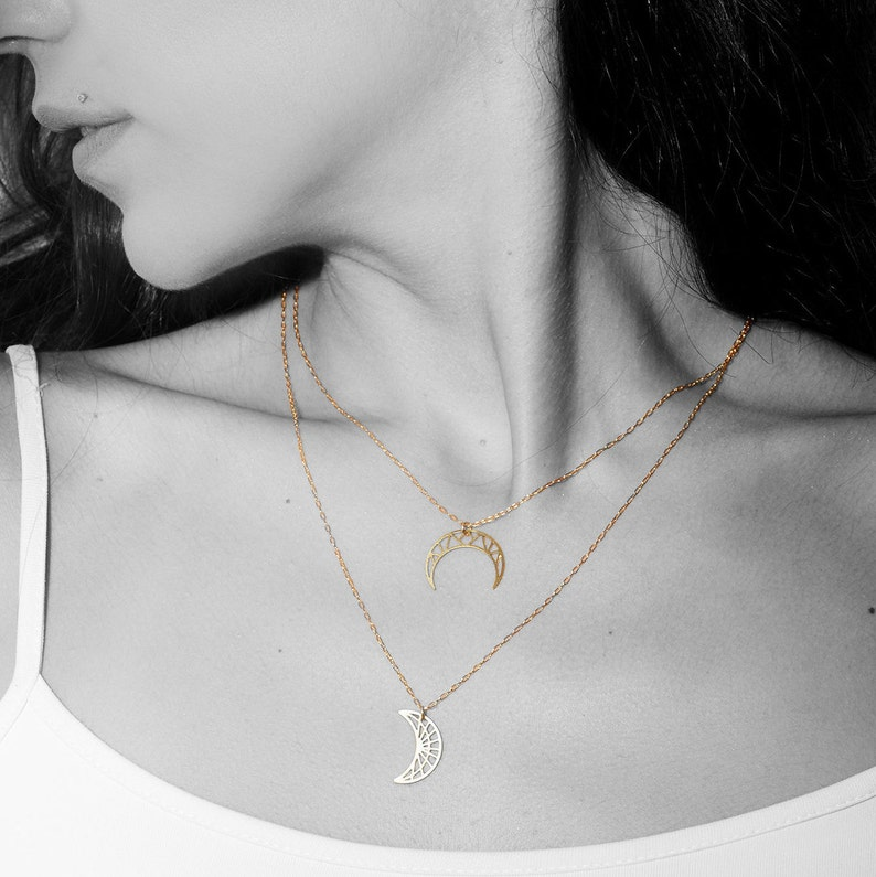 Geometric Upside Down Moon Necklace Crescent Moon Necklace celestial collection Horn Necklace gold plated gift for her fall jewelry