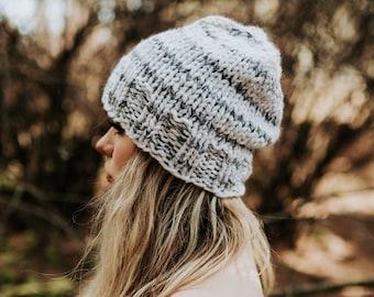 White Knit Beanie, knit cap, knit hat, Bohemian Hipster, Cap, white fur hat, chunky beanie, white striped knit hat, slouchy knit beanie