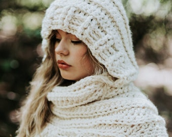 Katniss Inspired Cowl with Hood - Huntress Cowl Vest Scarf- Handmade- Knit Crochet Sweater-Unique- Bohemian Rustic -Knit Sweater- Cross Body