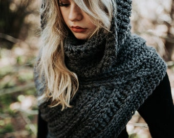 Hooded Katniss Inspired Cowl - Huntress Cowl Vest Scarf Hood- Handmade- Knit Crochet Sweater-Unique- Bohemian Boho -Knit Sweater- Cross Body