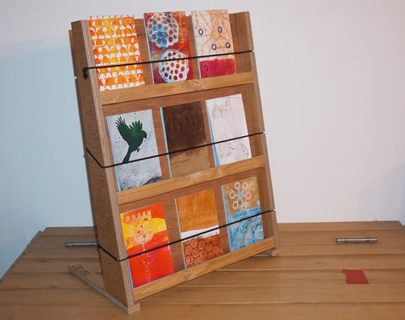 Greeting card display stand ply wood easy assemble for etsy m4hsunfo