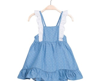 ff9dce4a6a1 baby girl   toddler dress in blue with polka dots and panties