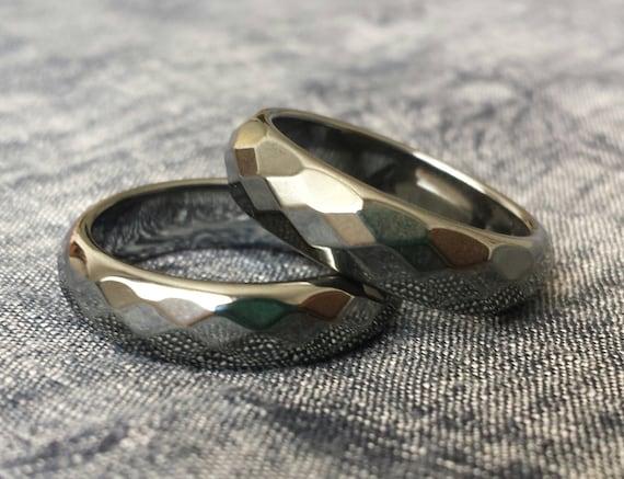 Nostrand 6mm Faceted Hematite Gemstone Plain Band Ring
