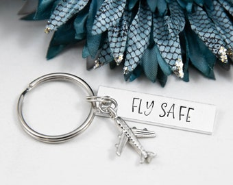 Fly Safe Keychain, Travel Gifts, Safe Travels Gift, Gifts For Pilots, Cabin Crew Gift