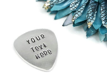 Personalized Guitar Pick | Custom Quote Pick Your Quote Your Text Gift For Him Musician | Hand Stamped Aluminum Guitar Pick
