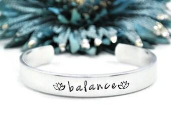 Balance Hand Stamped Cuff Bracelet | Hand Stamped Jewlry | Yoga Jewelry | Meditation Bracelet | Lotus Flower Bracelet | Ohm Bracelet