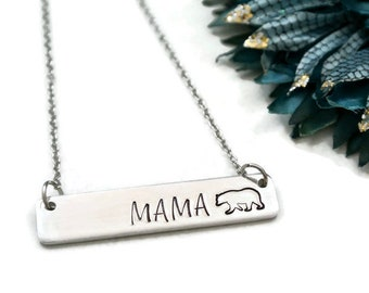 Mama Bear Necklace Silver, Momma Bear Necklace, Gift For Mom, Push Present, Newborn Gift, New Mom Gift, Mother's Day Gift