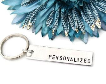 Personalized Keychain Custom Hand Stamped Keychain   Aluminum   Girlfriend Gift   Boyfriend Gift   Personalized Gift   Best Friend Gift