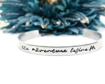 The Adventure Begins Hand Stamped Cuff Bracelet | Hand Stamped Jewelry | Adventure Awaits | Adventure Is Out There | Aluminum Jewelry