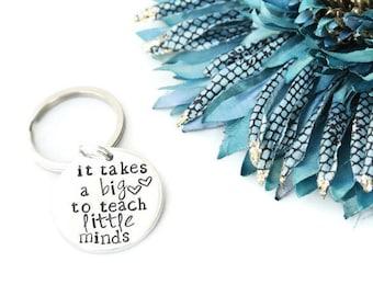 It Takes A Big Heart to Teach Little Minds Keychain   Daycare Teacher Gifts   Teacher Appreciation Gift   Pre K Teacher Gifts