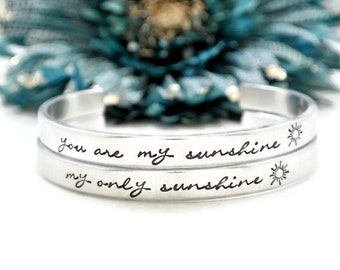 You Are My Sunshine My Only Sunshine Bracelet Set | Mother Daughter Gift | Hand Stamped Bracelet | Mother's Day Gift From Daughter